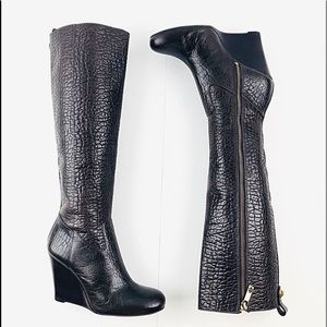 Tory Burch Embossed Brown Leather Riding Boots